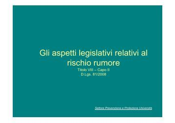 Aspetti Legislativi Rumore Pelosi.pdf - Università degli Studi di Parma
