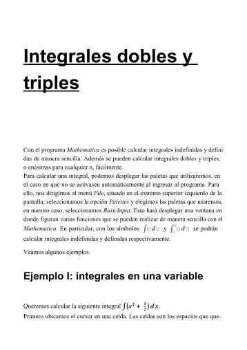 Integrales triples dobles y