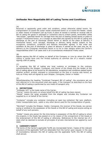 Bill of lading terms and conditions template 1099364 - hitori49.info