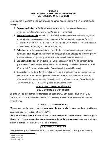 UNIDAD 6 MERCADO DE COMPETENCIA IMPERFECTA ...