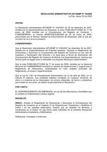 La Resolución Administrativa INT/SEMP N° 033 - Fundempresa