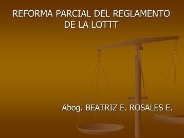 REFORMA PARCIAL DEL REGLAMENTO DE LA LOTTT