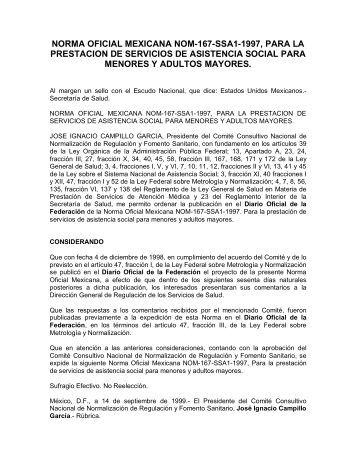 norma oficial mexicana nom-167-ssa1-1997, para la prestacion de ...