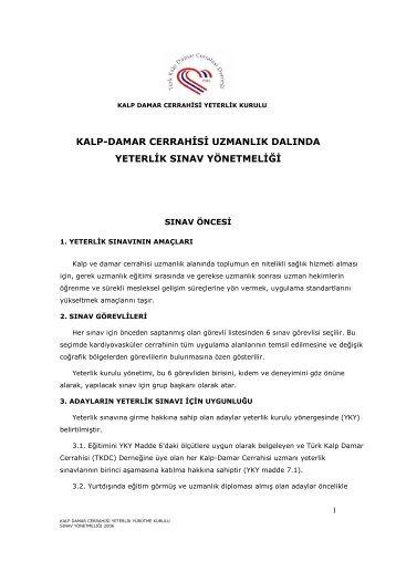 Yeterlik Sınav Yönetmeliği - Türk Kalp ve Damar Cerrahisi Derneği