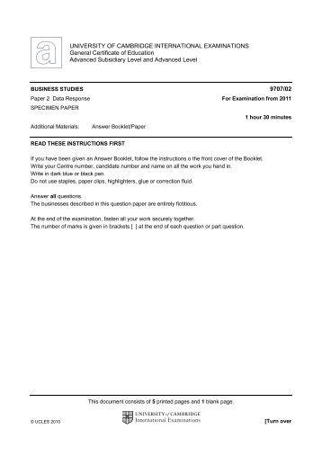 9707 Specimen Paper 2 (2011 examination onwards ... - Darn Exams