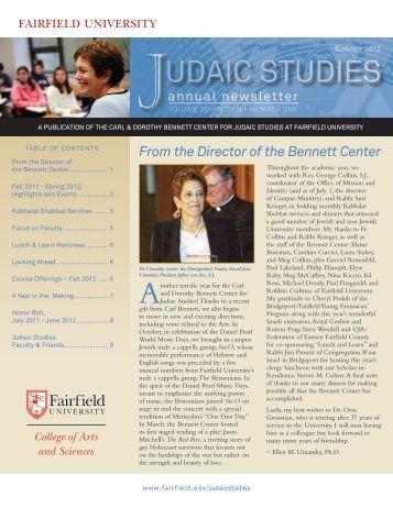 From the Director of the Bennett Center - Fairfield University