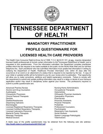tennessee department of health mandatory practitioner profile