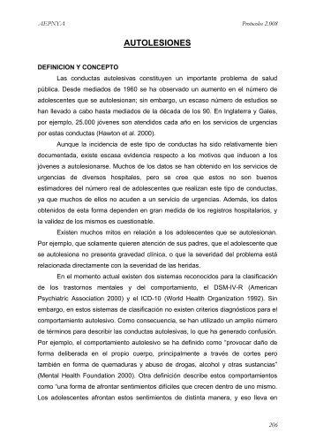 Autolesiones - Asociación Española de Pediatría