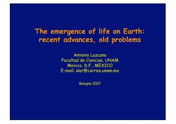 The emergence of life on Earth: recent advances, old problems