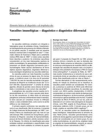 Vasculites imunológicas – diagnóstico e diagnóstico diferencial - cerir