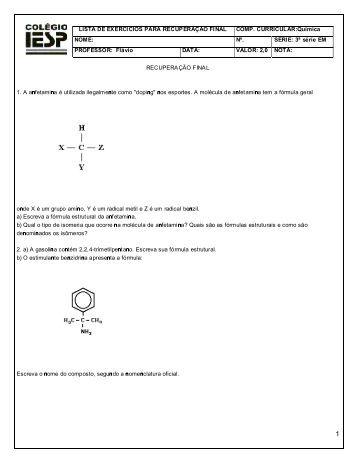 lista de exercicios para recuperação final comp. curricular