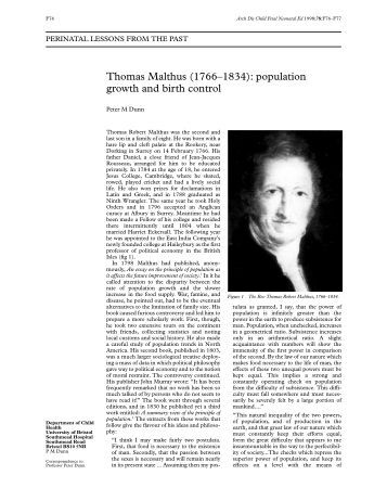 Thomas Robert Malthus Critical Essays