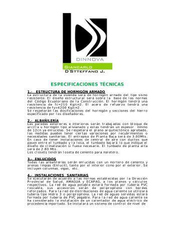 ESPECIFICACIONES TÉCNICAS - constructora dinnova