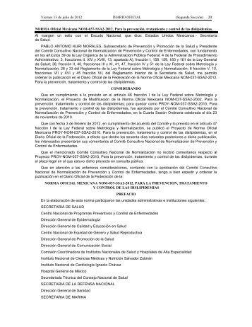 NORMA Oficial Mexicana NOM-037-SSA2-2012 - LEGISMEX ...