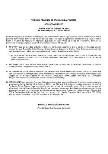 edital de divulgação de resultados - Tribunal Regional do Trabalho ...