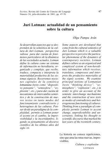 Juri Lotman: actualidad de un pensamiento sobre la cultura