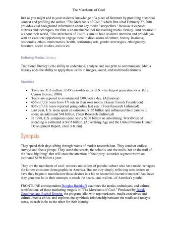 merchants of cool essay questions Merchants of cool discussion sheet read the following quotes and discuss the questions in your group write short summaries of your answers put the discussion sheet and your answers into the project portfolio.