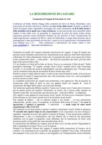 Commento di Alberto Maggi al Vangelo di Giovanni 11, 1 ... - 0721.Net