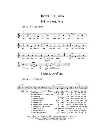 Primera Antífona Segunda Antífona - Iglesia Ortodoxa