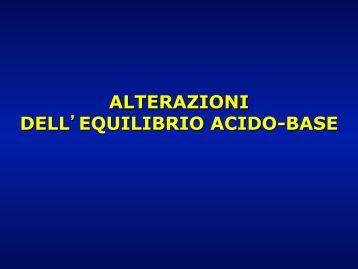 alterazioni dell equilibrio acido-base - Facoltà di Medicina e Chirurgia