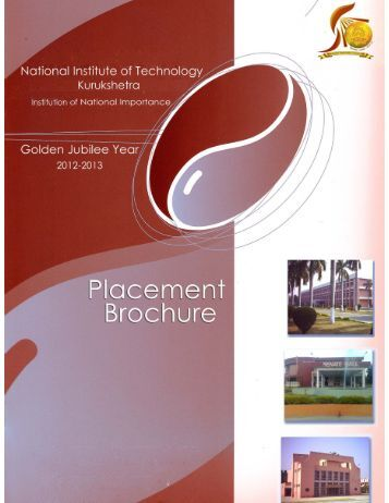 Placement Brochure Golden Jubilee Year (2012-13) - NIT Kurukshetra