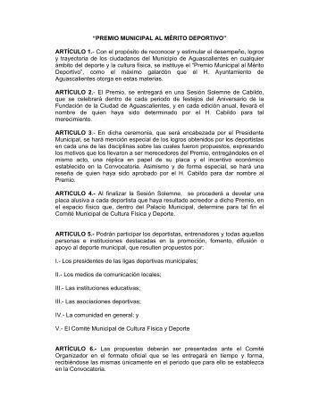 Reglamento del Premio Municipal al Mérito Deportivo.