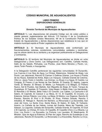 CÓDIGO MUNICIPAL DE AGUASCALIENTES - Gobierno de ...