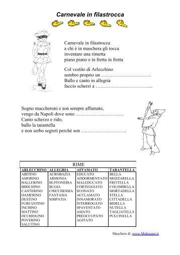 Carnevale in filastrocca - Maestra Sabry