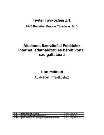 Invitel Távközlési Zrt. Általános Szerződési Feltételek internet ...