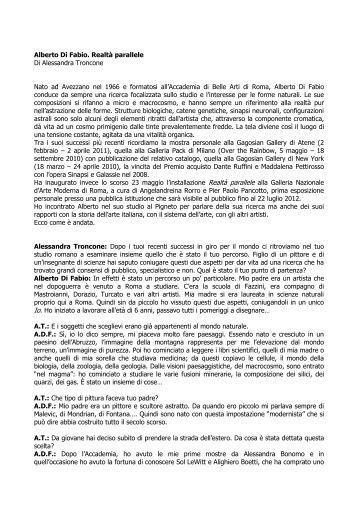 Intervista di Alessandra Troncone per LUXFLUX ... - Alberto Di Fabio