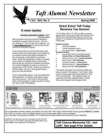 Taft Alumni Newsletter - Taftalumni.org