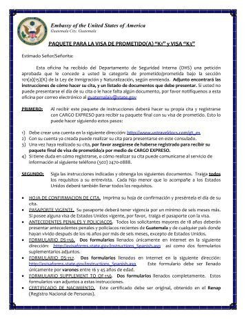 Requisitos para Visas de Prometido(a) - Apply for a U.S. Visa