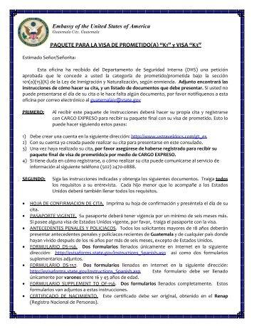 Requisitos para Visas de Prometido(a) - Apply for a U.S. Visa