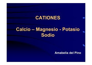CATIONES Calcio – Magnesio - Potasio Sodio