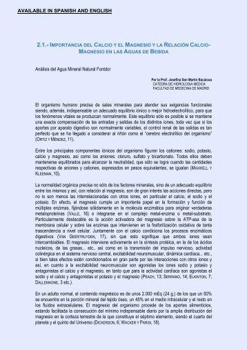 importancia del calcio y el magnesio y la relación ... - Vichy Catalan