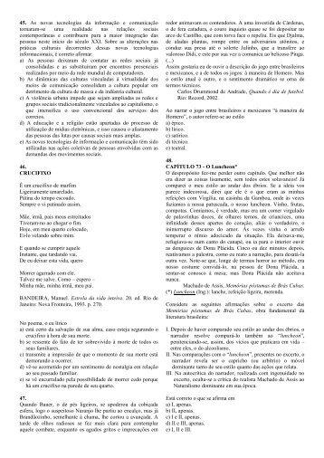 Prova de Português 1, Português 2 e Inglês - Colégio Santa Clara