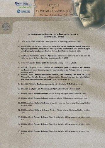 acervo bibliográfico do pe. joão alfredo rohr, sj - Museu do Homem ...