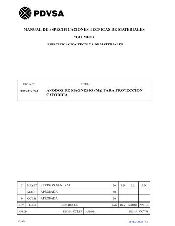 ANODOS DE MAGNESIO (Mg) PARA PROTECCION ... - sisman