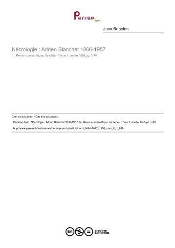 Biographie Adrien Blanchet - Sacra-Moneta