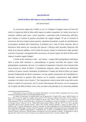 I diritti di difesa delle imprese nei procedimenti comunitari antitrust