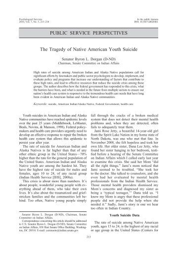 youth suicide in native americans The disempowerment and oppression of american indians and alaska natives, historical trauma and adverse childhood experiences have contributed to high rates of depression, other mental illness as well as high rates of suicide, among tribal youth.