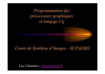 Programmation des processeurs graphiques et langage Cg Cours ...