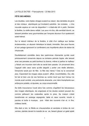 LA FOLLE DICTEE – Francophonie – 23 Mai 2013 FÊTE ... - Webnode