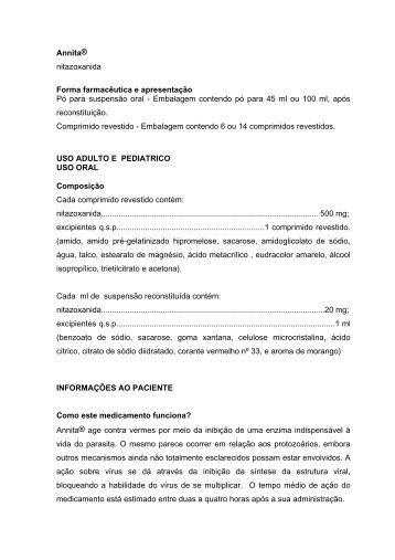 Annita® nitazoxanida Forma farmacêutica e ... - Netfarma