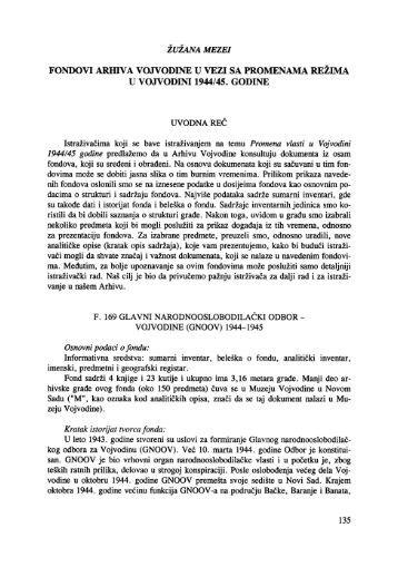 fondovi arhiva vojvodine u vezi sa promenama režima u vojvodini ...