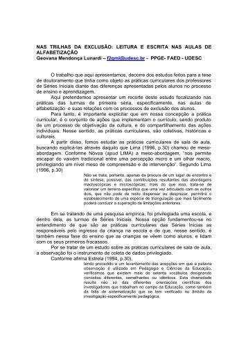 NAS TRILHAS DA EXCLUSÃO: LEITURA E ESCRITA NAS AULAS ...