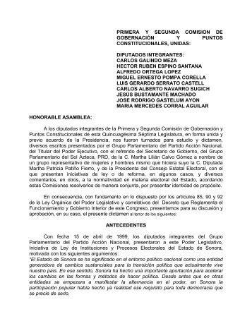 PRIMERA Y SEGUNDA COMISION DE GOBERNACIÓN Y PUNTOS ...