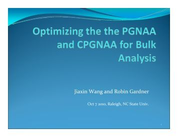 PGNAA Coal Optimization Studies - CEAR online