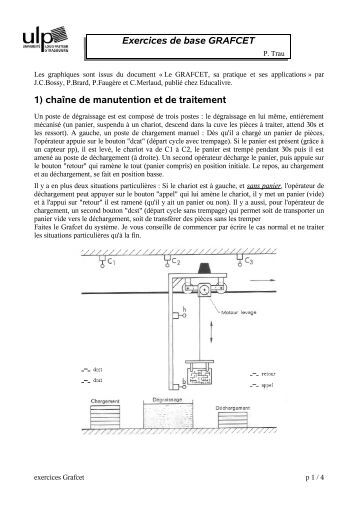 Exercices de base GRAFCET 1) chaîne de manutention et de ...