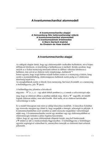 A kvantummechanikai atommodell